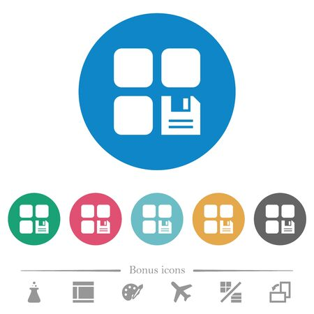 Save component flat white icons on round color backgrounds. 6 bonus icons included. Фото со стока - 132769122