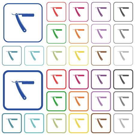 Straight razor color flat icons in rounded square frames. Thin and thick versions included.
