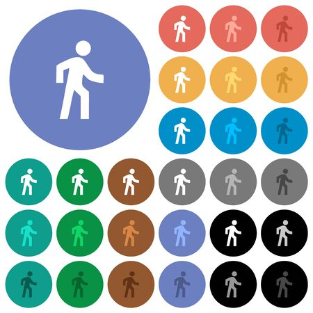 Man walking right multi colored flat icons on round backgrounds. Included white, light and dark icon variations for hover and active status effects, and bonus shades. Ilustração