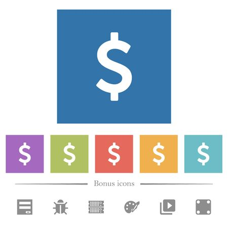 Dollar sign flat white icons in square backgrounds. 6 bonus icons included.