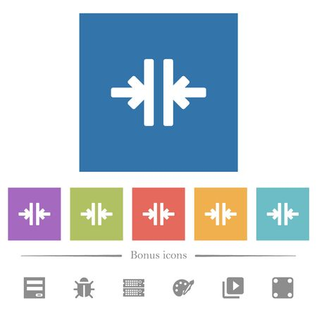 Vertical merge tool flat white icons in square backgrounds. 6 bonus icons included. Illustration