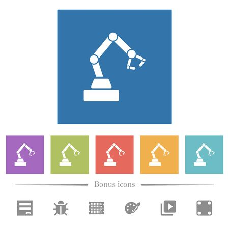 Robot arm flat white icons in square backgrounds. 6 bonus icons included.