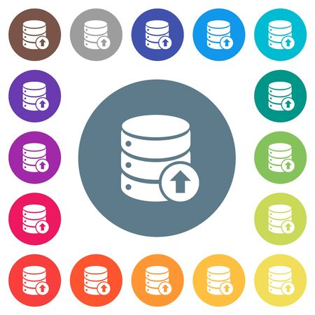 Database move up flat white icons on round color backgrounds. 17 background color variations are included.
