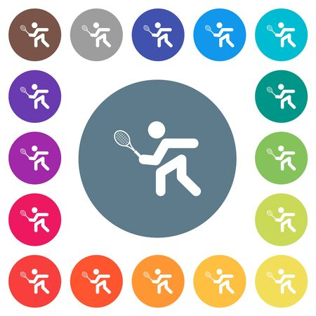 Tennis player flat white icons on round color backgrounds. 17 background color variations are included. Ilustração