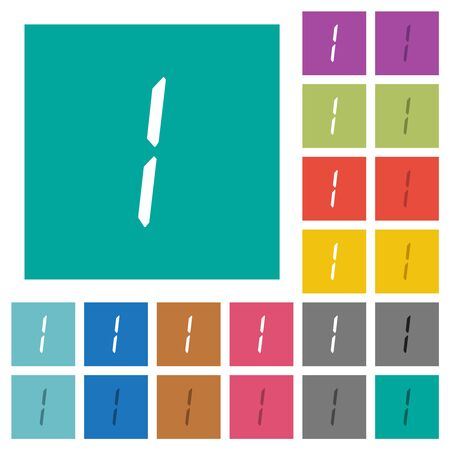 digital number one of seven segment type multi colored flat icons on plain square backgrounds. Included white and darker icon variations for hover or active effects.