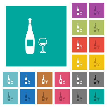 Wine bottle and glass multi colored flat icons on plain square backgrounds. Included white and darker icon variations for hover or active effects.