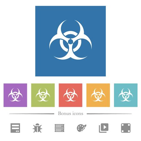 Biohazard sign flat white icons in square backgrounds. 6 bonus icons included.
