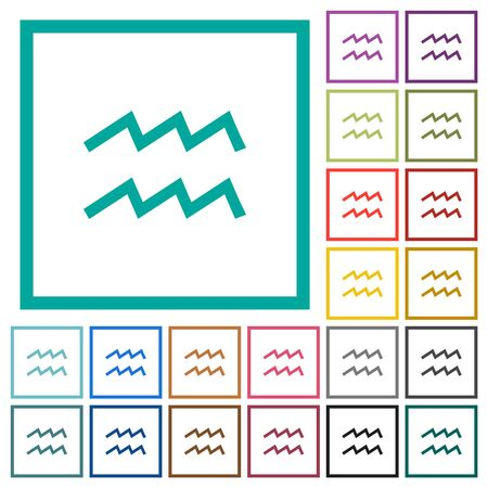 aquarius zodiac symbol flat color icons with quadrant frames on white background Stock fotó - 133356724