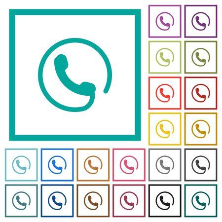 Hotline flat color icons with quadrant frames on white background Çizim