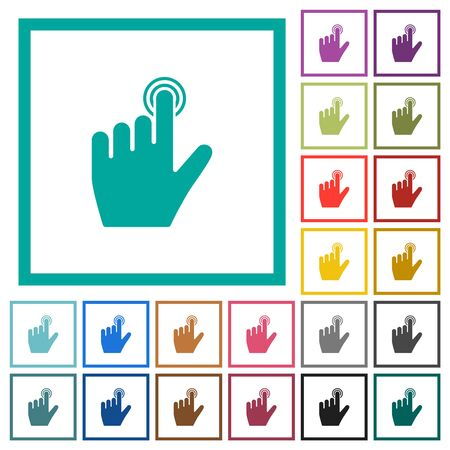 left handed clicking gesture flat color icons with quadrant frames on white background Stock Illustratie