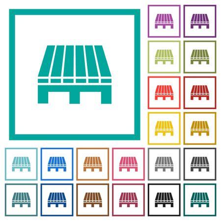 Single pallet flat color icons with quadrant frames on white background Illusztráció