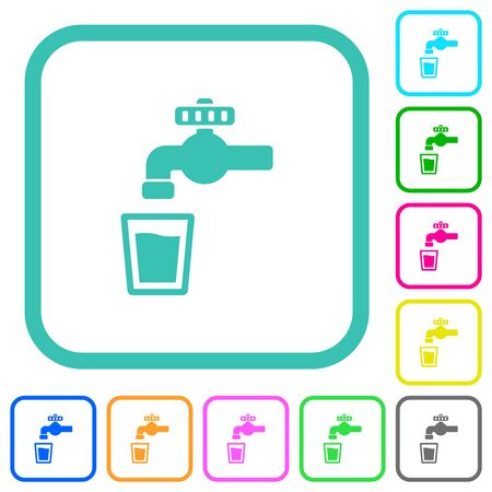 Drinking water vivid colored flat icons in curved borders on white background
