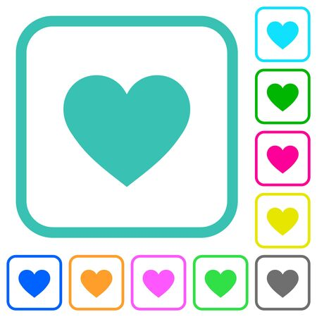 Heart card symbol vivid colored flat icons in curved borders on white background