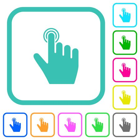 right handed clicking gesture vivid colored flat icons in curved borders on white background Stock Illustratie