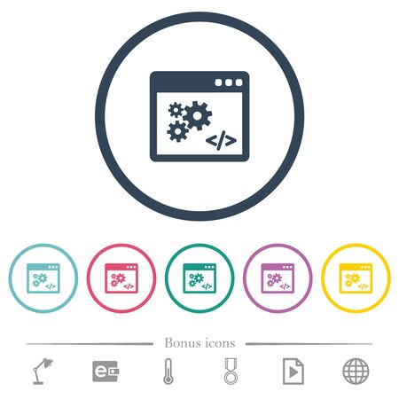 Application programming interface flat color icons in round outlines. 6 bonus icons included.