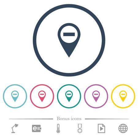 Remove GPS map location flat color icons in round outlines. 6 bonus icons included. Stock fotó - 133356736