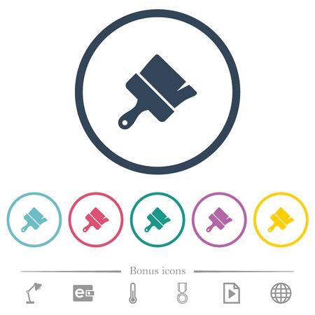 Paint brush flat color icons in round outlines. 6 bonus icons included. Illusztráció