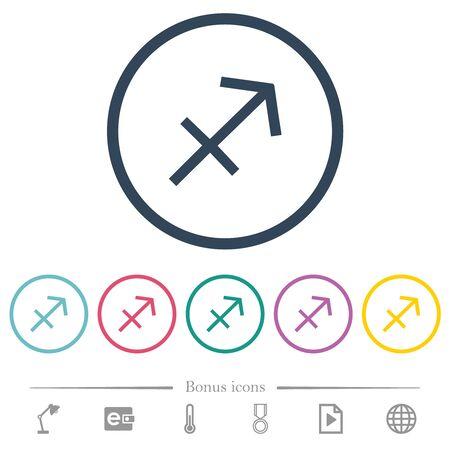 Sagittarius zodiac symbol flat color icons in round outlines. 6 bonus icons included. Illusztráció