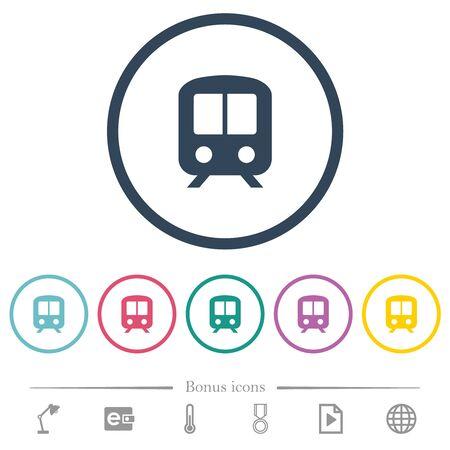 Train flat color icons in round outlines. 6 bonus icons included. Illusztráció