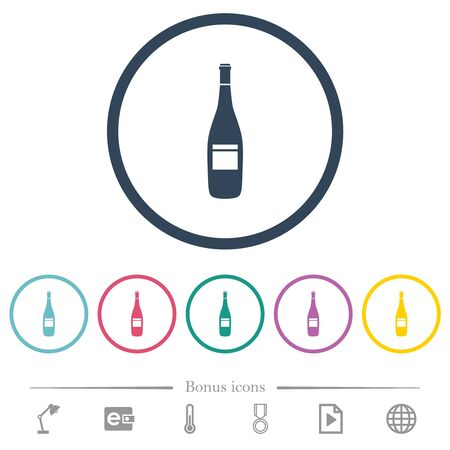 Wine bottle with label flat color icons in round outlines. 6 bonus icons included. Illustration