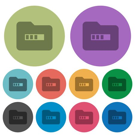 Processing folder darker flat icons on color round background Stock fotó - 133356747