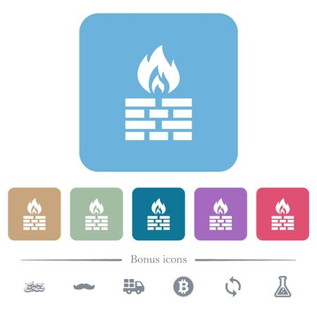 Firewall white flat icons on color rounded square backgrounds. 6 bonus icons included Illusztráció