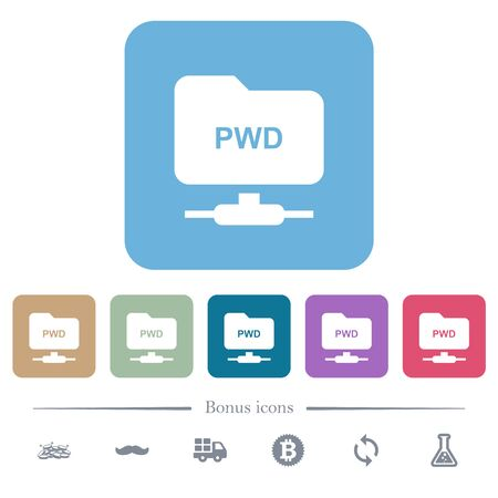 FTP print working directory white flat icons on color rounded square backgrounds. 6 bonus icons included