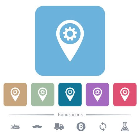 GPS map location settings white flat icons on color rounded square backgrounds. 6 bonus icons included Stock fotó - 133356753