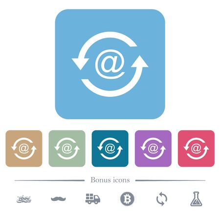 Reload emails white flat icons on color rounded square backgrounds. 6 bonus icons included Illusztráció