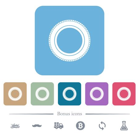 Car tire white flat icons on color rounded square backgrounds. 6 bonus icons included Stock fotó - 133356788