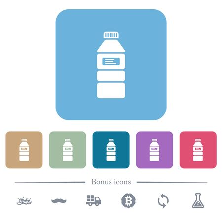 Water bottle with label white flat icons on color rounded square backgrounds. 6 bonus icons included Stock fotó - 133356789