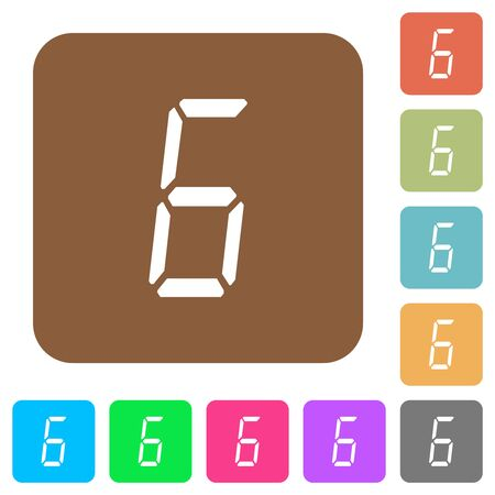 digital number six of seven segment type flat icons on rounded square vivid color backgrounds. Stock fotó - 133356792