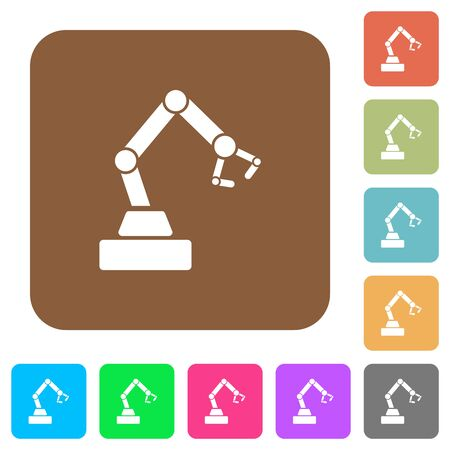 Robot arm flat icons on rounded square vivid color backgrounds.