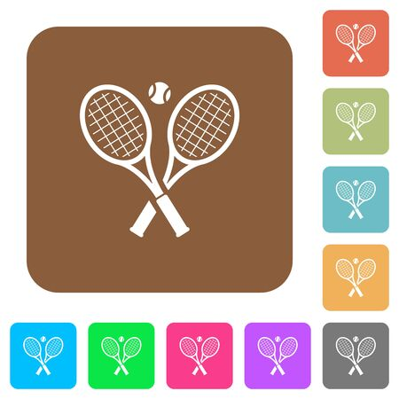 Tennis rackets with ball flat icons on rounded square vivid color backgrounds. Stock fotó - 133356796