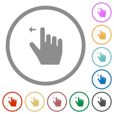 Right handed move left gesture flat color icons in round outlines on white background Иллюстрация
