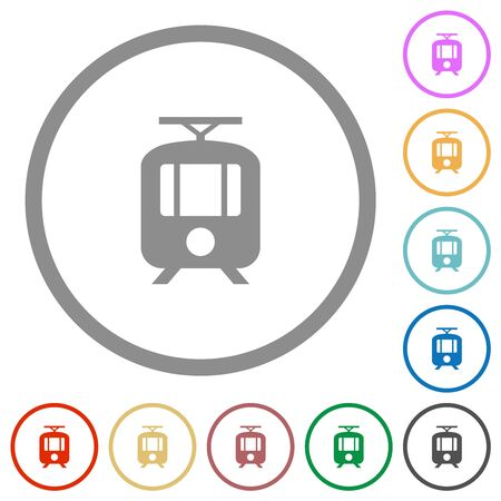 Tram flat color icons in round outlines on white background Иллюстрация