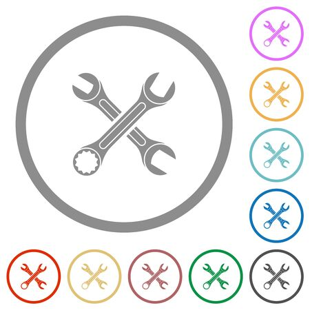 Two wrenches flat color icons in round outlines on white background