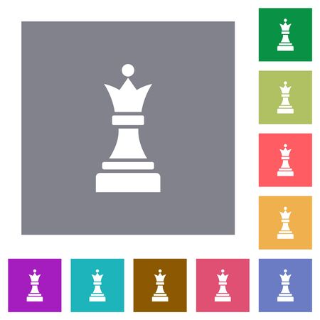 Black chess queen flat icons on simple color square backgrounds