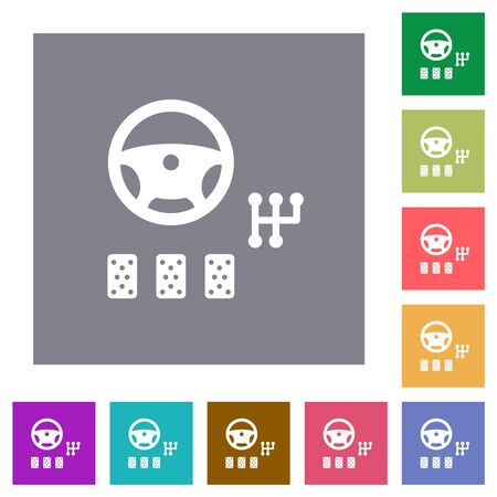 Car controls flat icons on simple color square backgrounds Иллюстрация