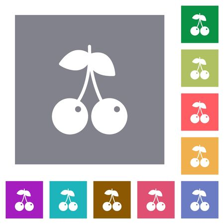 Pair of cherry flat icons on simple color square backgrounds
