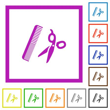 Comb and scissors flat color icons in square frames on white background Иллюстрация