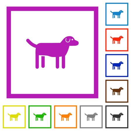 Dog flat color icons in square frames on white background