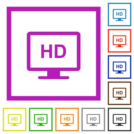 HD display flat color icons in square frames on white background Illustration