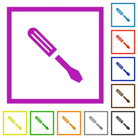 Single screwdriver flat color icons in square frames on white background