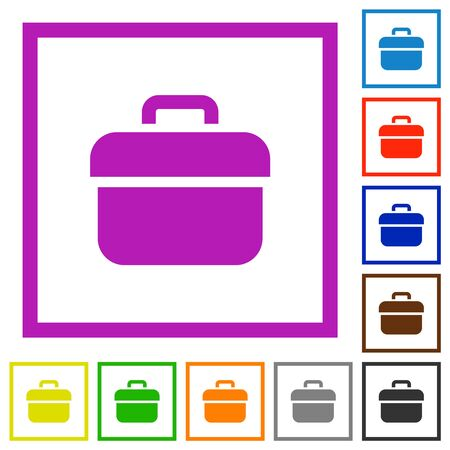 Toolbox flat color icons in square frames on white background