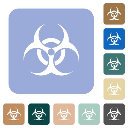Biohazard sign white flat icons on color rounded square backgrounds