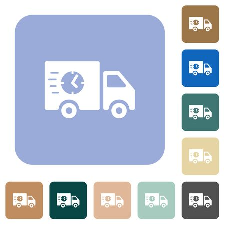 Fast delivery truck white flat icons on color rounded square backgrounds Иллюстрация