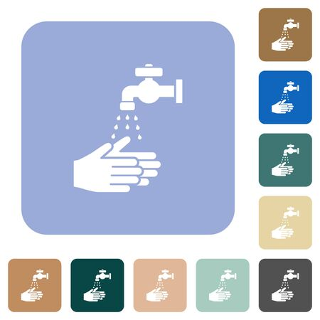 Hand washing white flat icons on color rounded square backgrounds Vectores