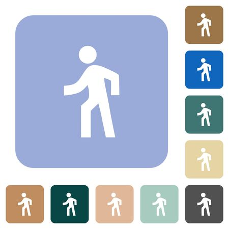 Man walking left white flat icons on color rounded square backgrounds Иллюстрация