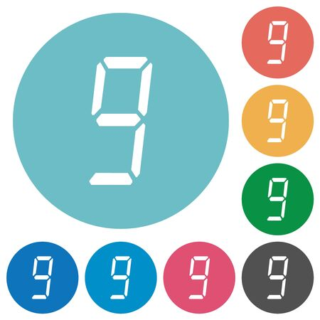 digital number nine of seven segment type flat white icons on round color backgrounds Иллюстрация